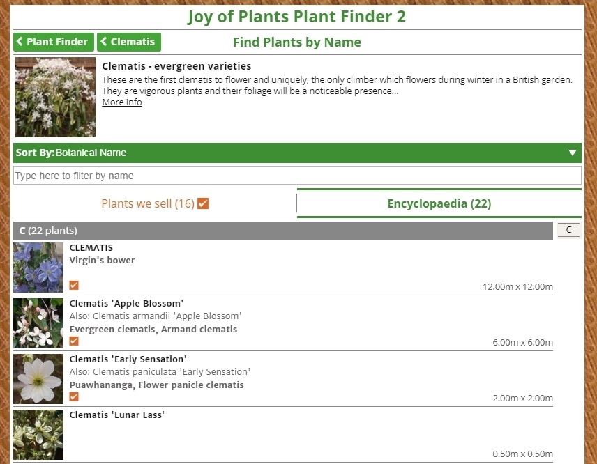 Joy of Plants Plant Finder 2 Groups