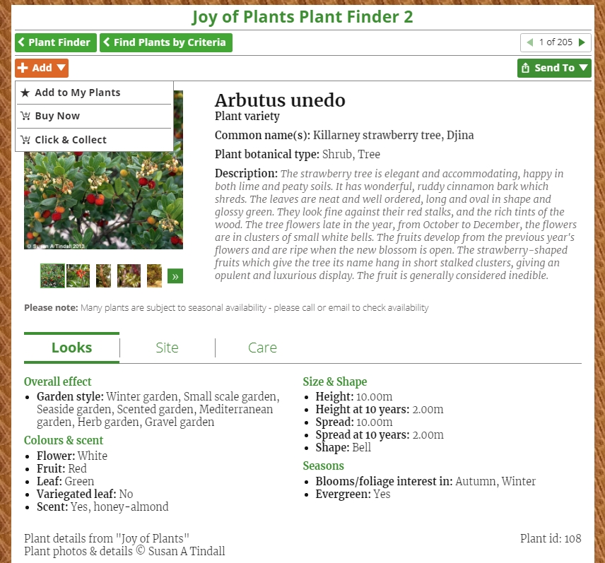 Joy of Plants Plant Finder 2 Plant Info - add
