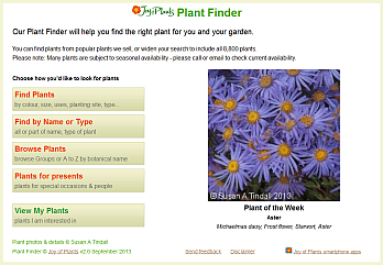 Plant Finder Home page