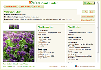Plant Finder Plant Info page