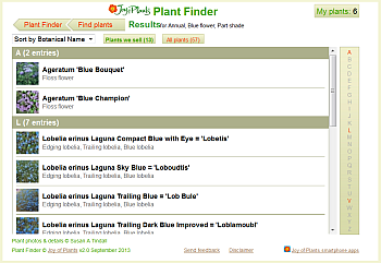 Plant Finder Results page